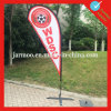 Красный напольный флаг пляжа Swooper промотирования