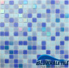 Blue Frozen Mixed Glossy Melting Glass Mosaic Design per Residential Pool