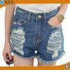 Les dames occasionnelles d'été court- les pantalons courts déchirés par jeans de denim de trou