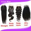 Fechamento superior de seda do laço da onda Kinky peruana não processada nova do cabelo do estilo