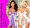 2 Colors Sexy Night Sleep Wear Women Laces Babydoll Lingerie Purple White 6134