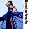 Vestidos frisados azuis sexy do baile de finalistas do Um-Ombro