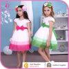 Weinig Koningin Flower die Girl Dress, Kinderen Pink/Green zich met Boog kleedt