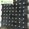 Heißes verkaufenBasketweave schwarzes Mosaik mit Punkt-Marmorfliesen