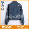 袖の余暇の方法女性のデニムのジーンの長いジャケット