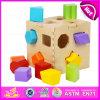 2015 brinquedos quentes da caixa de madeira do bloco, blocos de madeira da caixa da forma do brinquedo de DIY, brinquedo educacional de madeira W12D017 da caixa dos blocos da caixa da inteligência da forma
