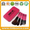 Rectángulo portable del estaño del metal del conjunto de cepillo del maquillaje para el empaquetado cosmético