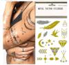 Etiqueta engomada metálica del tatuaje del flash del oro del pelo de moda de la carrocería