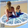ビーチタオルのあたりで印刷される100%年の綿の円形のビーチタオル