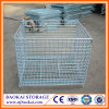 Rolling Warehouse Steel Folding Storage Cage / Warehouse Stack Racking system Wire Container