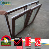 Color de madeira UPVC Double Casement Tilt e Turn Windows