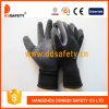 Черные перчатки хлопка покрытия латекса. Отделка Crinkle (DKL339)