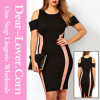 Exclusive noir Bodycon Dress avec Drop Shoulders