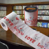 L'amour a estampé le tissu de salle de bains personnalisé par roulis d'image de papier de toilette