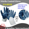 Блокировка перчатка с голубой Нитриловое покрытие & Open Back & вязать наручные / EN388: 4111 / Размер 7 , 8, 9 , 10 (YS-091B)