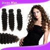 Волосы Remy девственницы волны 100% людские глубокие (W-071)