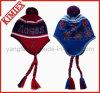 Knitted acrilico Earflap Tassel Hat con POM POM