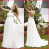 2013 mousseline de soie blanche plissée Empire perles robe de mariée (H036)