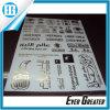 Etiqueta engomada de aluminio de encargo del pegamento de la escritura de la etiqueta del metal de la insignia y del texto
