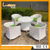 Blanco Jardín de gama alta Patio Cafe Muebles para fiestas Rattan Aluminum Frame Chair and Table Set