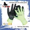 Nylonschwarzes PU-überzogener Handschuh der palmen-13G