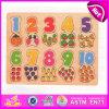 Giocattolo di legno di puzzle di numero del gioco dei 2015 capretti, giocattolo di legno di puzzle di conteggio di numero di disegno della frutta, contante puzzle di legno W14b049 di numero della lettera