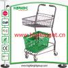 Double Basket Supermarket Shopping Trolley avec Advertizing Sign Holder
