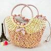 Sac à main bon marché de plage de mode de paille de vente en gros simple de sac (T075)