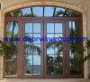 Porte française en aluminium de bois de construction de type de l'Europe, se pliant/porte en verre articulée de patio, porte française en aluminium en bois intérieure