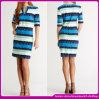 Самое новое платье 2015 западных цветастых женщин краткости V-Шеи нашивки вскользь (C-219)