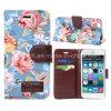 iPhone 6のためのCard Slotsの花Leather Case