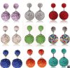 2015 neues Hot Selling Ball Earrings Double Side Shining &Rhinestone &Matt &Korea Wrinkle Pearl Studs Earrings Ball Crystal für Women Jewelry