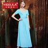 Женщин способа Yigelila платье шеи v новых голубое длиннее