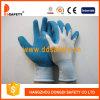 Перчатки Dnl216 работы голубых перчаток покрытия латекса Nylon
