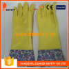 Желтые перчатки DHL713 домочадца латекса латекса домочадца