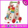 Juguete de madera del caminante del empuje del aspecto atractivo 2015, juguete creativo del caminante del cabrito del grado superior, juguete de madera W16e033 del caminante del bebé de múltiples funciones