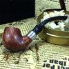 Hand geschnitzte Tabak-Schwarzes geschnitzte gerade hölzerne Tabak-Pfeife