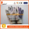 Kuh-aufgeteiltes Leder. Streifen-Baumwollrücken. Knit-Handgelenk-Handschuh (DLC410)