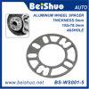 espaciador Eje-Céntrico del adaptador del aluminio 4+5 de 5m m de la rueda auto gruesa de los orificios