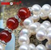 Collar chino de la perla del agua dulce del diseño simple con la ágata
