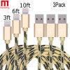 Cordon de remplissage de tissu du nylon USB de caractéristiques de câble tressé durable de synchro pour l'iPhone
