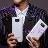 Крен 10000mAh силы кожаный способа крышки портативный с 4PCS заряжателем телефона USB LCD