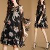 Платье женщин способа шифоновое с флористической печатью (A130)
