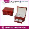 Caja de dos pisos de madera Handcrafted de la bandeja de la joyería con el cajón