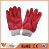Китай окунул растворяющие перчатки PVC красного и короткого выскальзования грубые химически упорные резиновый