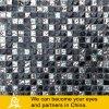 Schwarzes und Metallmischungs-Glasmosaik mit Stein 04