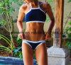 Blauer Badebekleidungs-Bikini für Frauen/Dame, Badeanzug-Strand-Abnützung