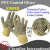 10g желтый полиэстер / хлопок трикотажные перчатки с 2-х сторон черный ПВХ Criss-Cross покрытие / EN388: 124x