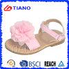 Sandalia cristalina del nuevo color de rosa del verano con la flor hermosa (TNK50020)