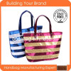 Brillante promotionnel Tissu Lady Tote Sacs de plage